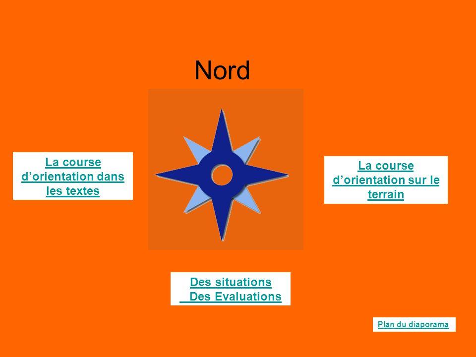 La course d'orientation sur le terrain La course d'orientation dans les textes Des situations Des Evaluations Plan du diaporama Nord
