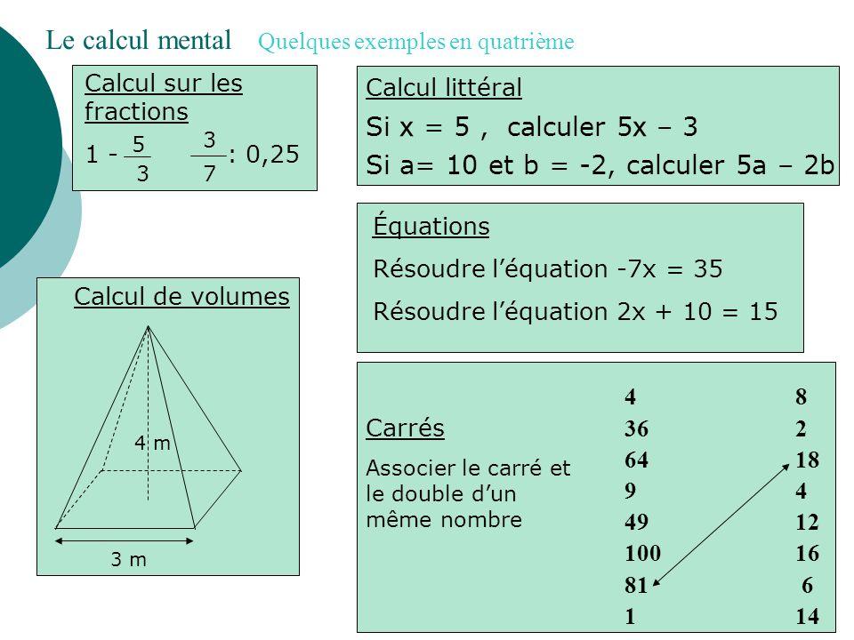 Enchaînements d'opérations 1 + 2 x 3 60 – (20 + 30) 9+39+3 4 Calcul d'aires Conversions Convertir en m² : 5 dm² Convertir en cm 3 :12 m 3 Le calcul mental Quelques exemples en cinquième Calcul d'angles 30° 40° Équations Tester si l'égalité est vraie pour a=3 2a – 2 = 2x2 Calcul sur les fractions 2 + 1 3