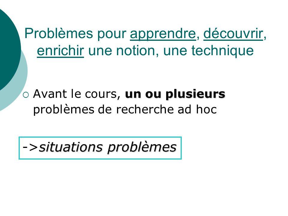 Places des problèmes dans les apprentissages numériques