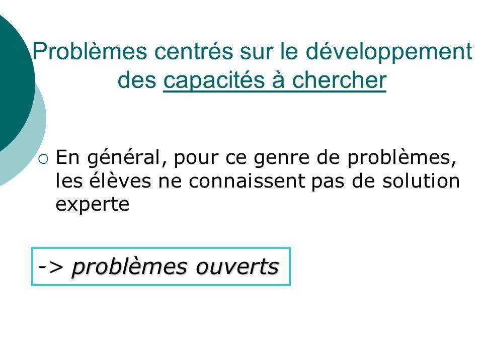 Problèmes de réinvestissement plus complexes  Dont la résolution nécessite la mobilisation de plusieurs catégories de connaissances problèmes complexes -> problèmes complexes