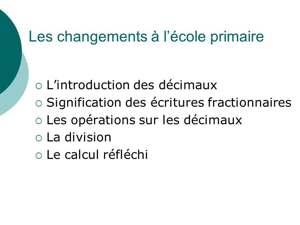 Quelques points forts  Des changements à l'école primaire : ce que savent les élèves en entrant en 6ème a changé (dans les textes).