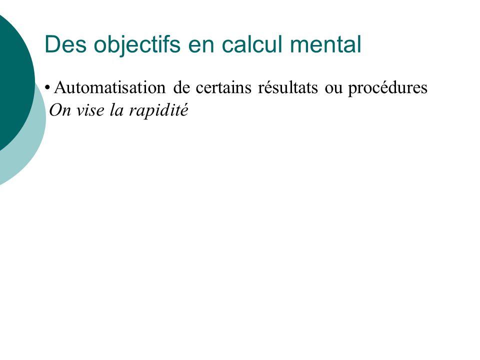 Le calcul mental est...