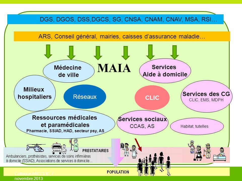 3 Services sociaux CCAS, AS Milieux hospitaliers Médecine de ville Ressources médicales et paramédicales Pharmacie, SSIAD, HAD, secteur psy, AS Services Aide à domicile Services des CG CLIC, EMS, MDPH Habitat, tutelles DGS, DGOS, DSS,DGCS, SG, CNSA, CNAM, CNAV, MSA, RSI… ARS, Conseil général, mairies, caisses d'assurance maladie… Réseaux CLIC Colloque ANCCLIC, 7 novembre 2013