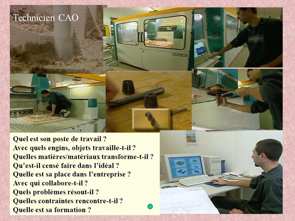 Technicien CAO Quel est son poste de travail ? Avec quels engins, objets travaille-t-il ? Quelles matières/matériaux transforme-t-il ? Qu'est-il censé