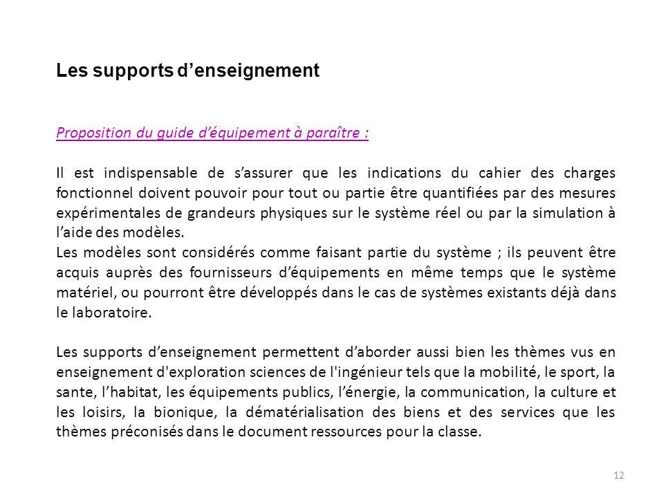 Les supports d'enseignement Proposition du guide d'équipement à paraître : Il est indispensable de s'assurer que les indications du cahier des charges