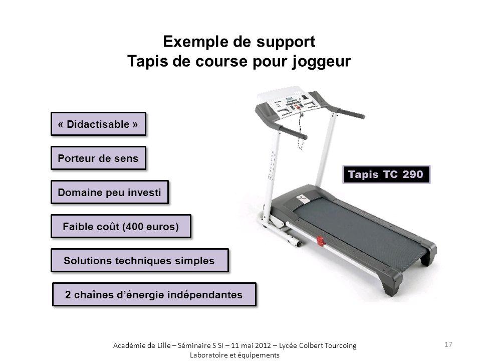 Exemple de support Tapis de course pour joggeur Faible coût (400 euros) « Didactisable » Porteur de sens Domaine peu investi Solutions techniques simp