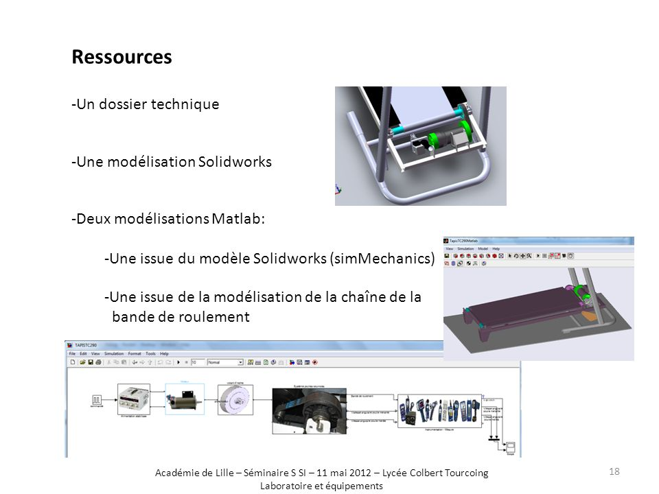-Un dossier technique -Une modélisation Solidworks -Deux modélisations Matlab: -Une issue du modèle Solidworks (simMechanics) -Une issue de la modélis
