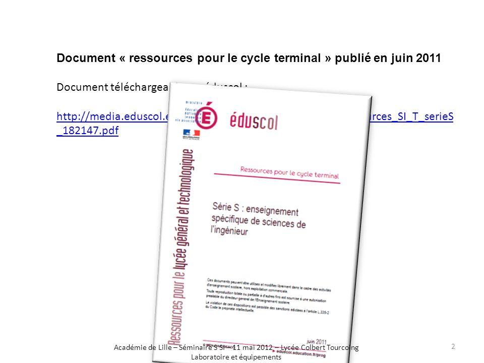 Document « ressources pour le cycle terminal » publié en juin 2011 Document téléchargeable sur éduscol : http://media.eduscol.education.fr/file/SI/14/7/LyceeGT_Ressources_SI_T_serieS _182147.pdf Académie de Lille – Séminaire S SI – 11 mai 2012 – Lycée Colbert Tourcoing Laboratoire et équipements 2
