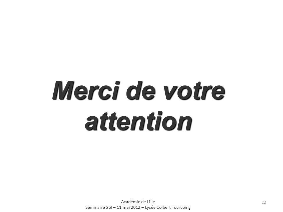 Merci de votre attention Académie de Lille Séminaire S SI – 11 mai 2012 – Lycée Colbert Tourcoing 22