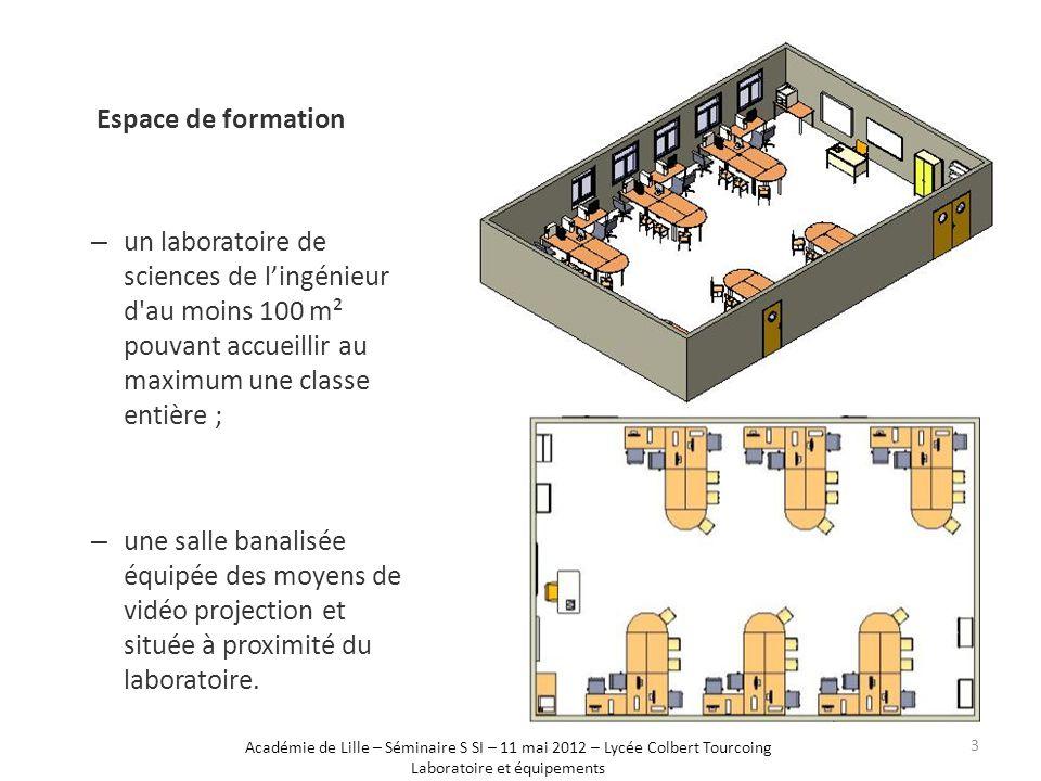 – un laboratoire de sciences de l'ingénieur d au moins 100 m² pouvant accueillir au maximum une classe entière ; – une salle banalisée équipée des moyens de vidéo projection et située à proximité du laboratoire.