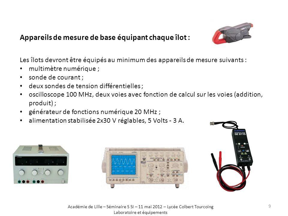 Appareils de mesure de base équipant chaque îlot : Les îlots devront être équipés au minimum des appareils de mesure suivants : multimètre numérique ;