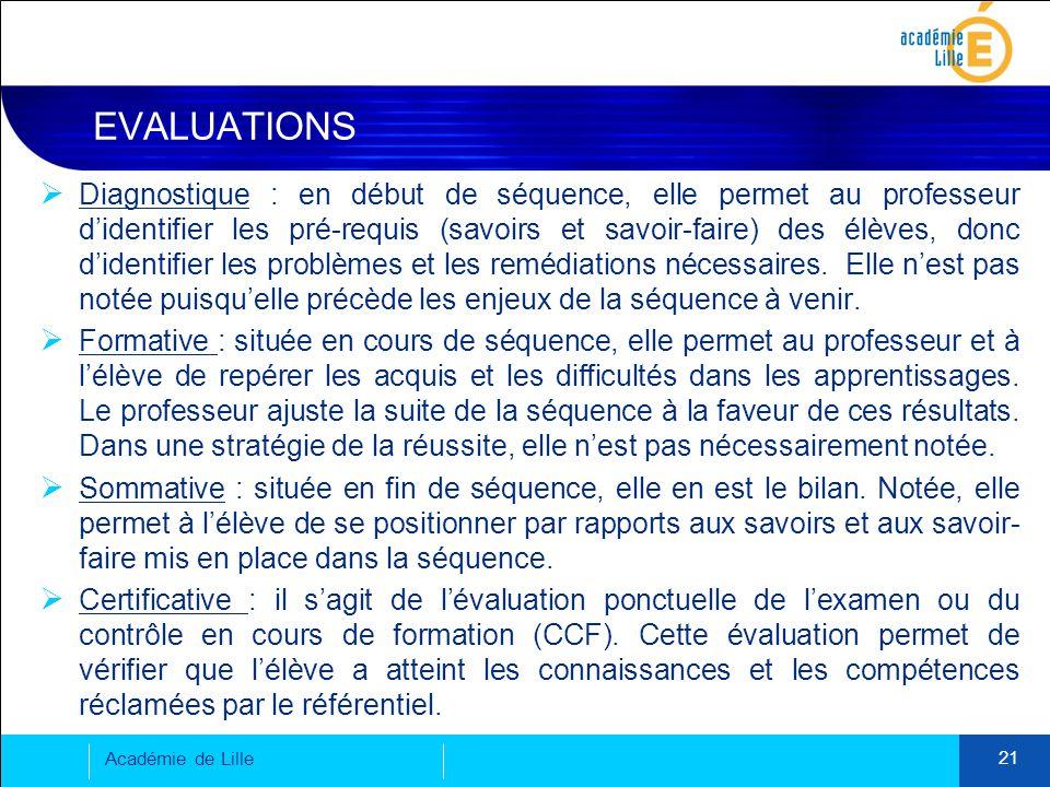 EVALUATIONS Académie de Lille 21  Diagnostique : en début de séquence, elle permet au professeur d'identifier les pré-requis (savoirs et savoir-faire) des élèves, donc d'identifier les problèmes et les remédiations nécessaires.