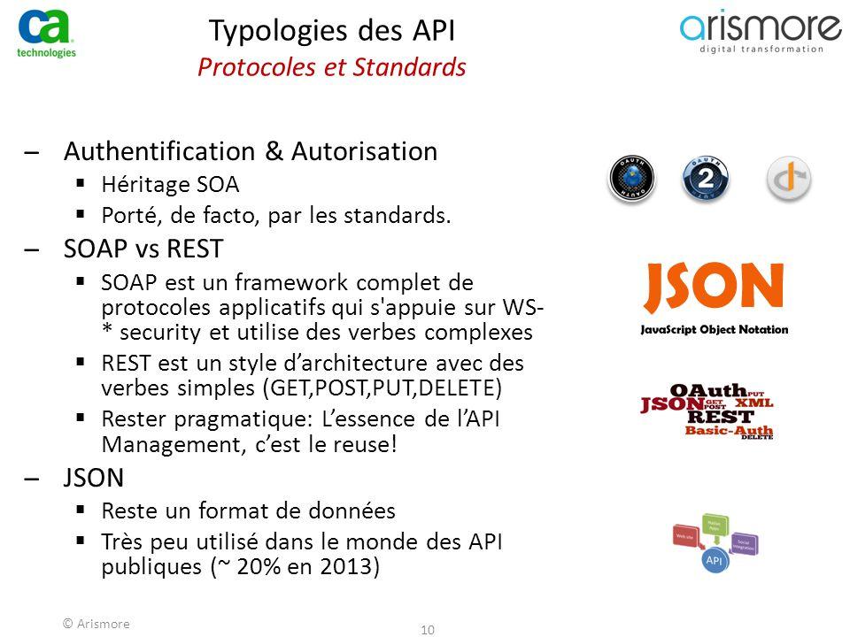 © Arismore 10 Typologies des API Protocoles et Standards ̶Authentification & Autorisation  Héritage SOA  Porté, de facto, par les standards. ̶SOAP v