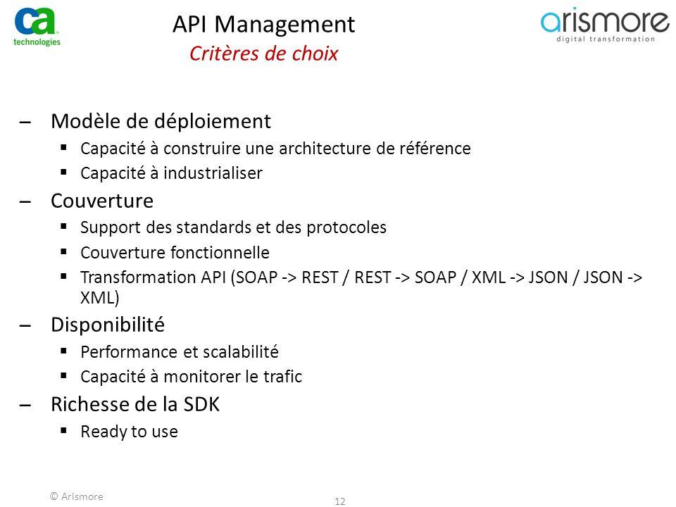 © Arismore 12 API Management Critères de choix ̶Modèle de déploiement  Capacité à construire une architecture de référence  Capacité à industrialise