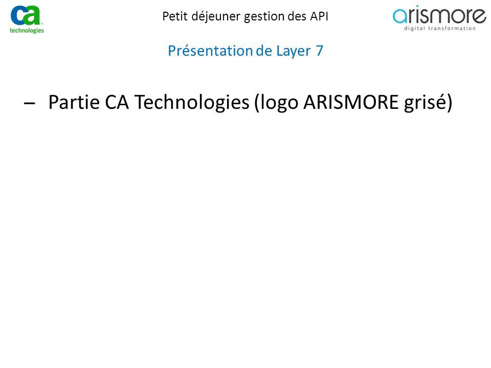 Petit déjeuner gestion des API Présentation de Layer 7 ̶Partie CA Technologies (logo ARISMORE grisé)