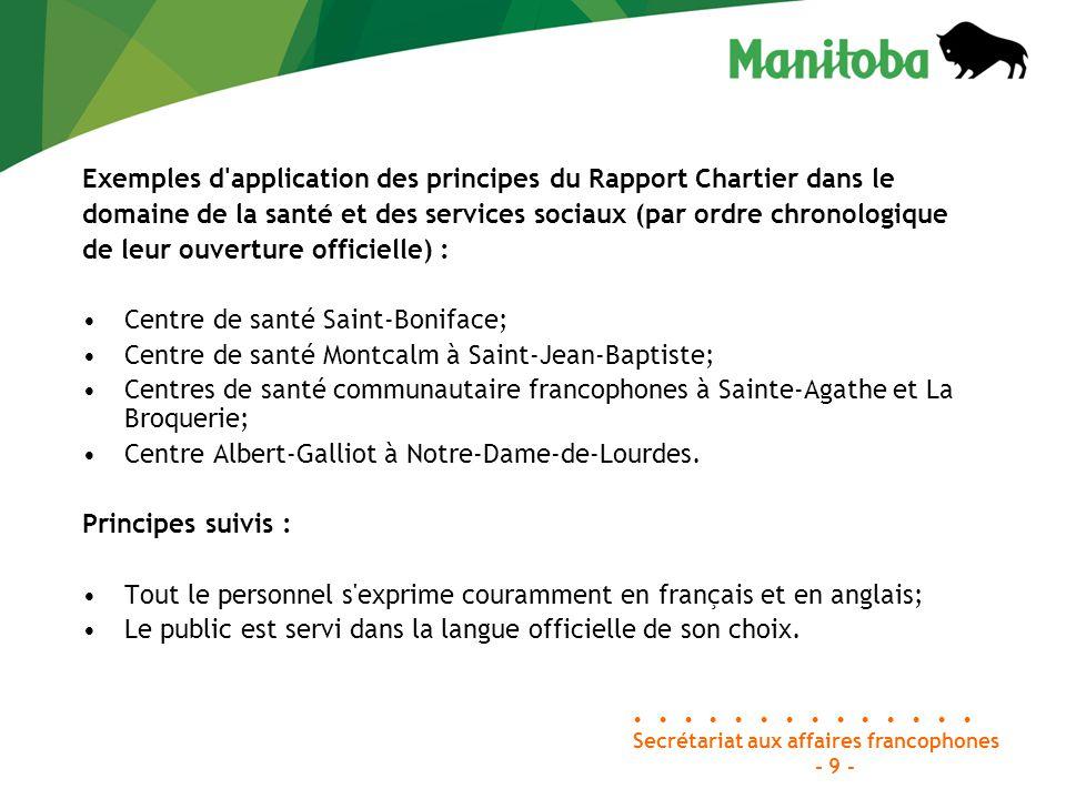 Secrétariat aux affaires francophones Palais législatif, bureau 46 Winnipeg (Manitoba) R3C 0V8 Téléphone : 204-945-4915 Sans frais : 1-866-267-6114 Télécopieur : 204-948-2015 C.
