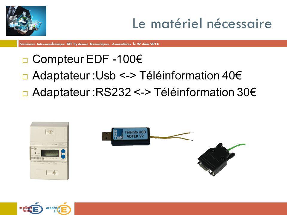 Séminaire Inter-académique BTS Systèmes Numériques, Armentières le 27 Juin 2014 Le matériel nécessaire  Compteur EDF -100€  Adaptateur :Usb Téléinfo