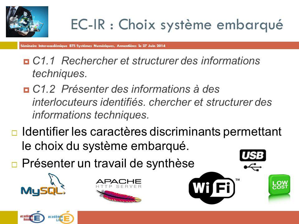 Séminaire Inter-académique BTS Systèmes Numériques, Armentières le 27 Juin 2014 EC-IR : Choix système embarqué  C1.1 Rechercher et structurer des inf