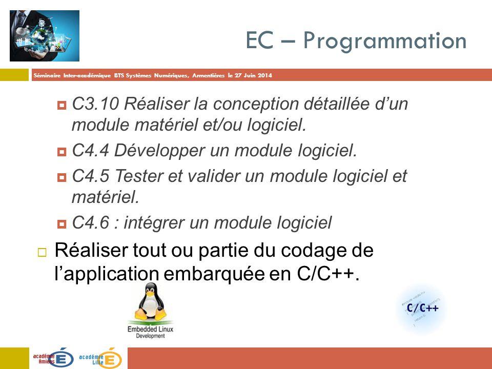 Séminaire Inter-académique BTS Systèmes Numériques, Armentières le 27 Juin 2014 EC – Programmation  C3.10 Réaliser la conception détaillée d'un modul