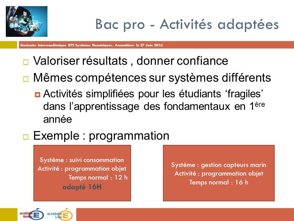 Séminaire Inter-académique BTS Systèmes Numériques, Armentières le 27 Juin 2014 Bac pro - Activités adaptées  Valoriser résultats, donner confiance 