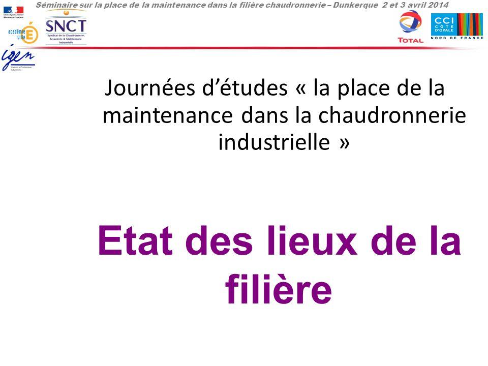 Séminaire sur la place de la maintenance dans la filière chaudronnerie – Dunkerque 2 et 3 avril 2014 Journées d'études « la place de la maintenance dans la chaudronnerie industrielle » Etat des lieux de la filière