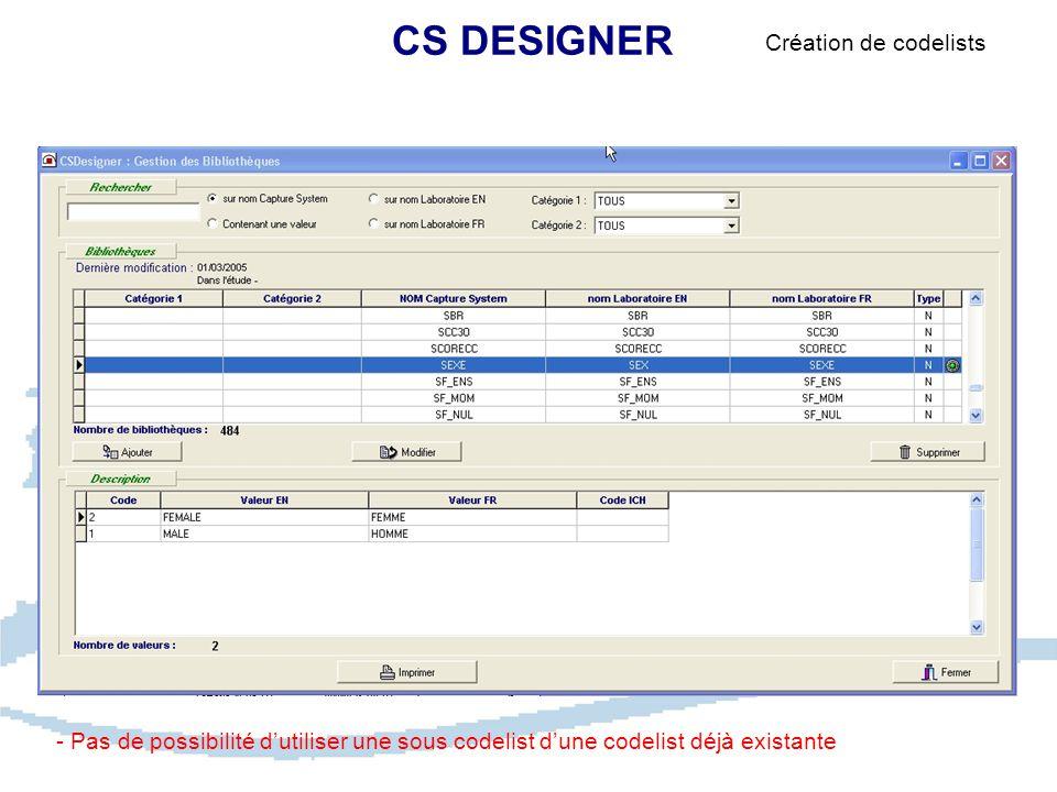 CS DESIGNER Création de codelists - Pas de possibilité d'utiliser une sous codelist d'une codelist déjà existante