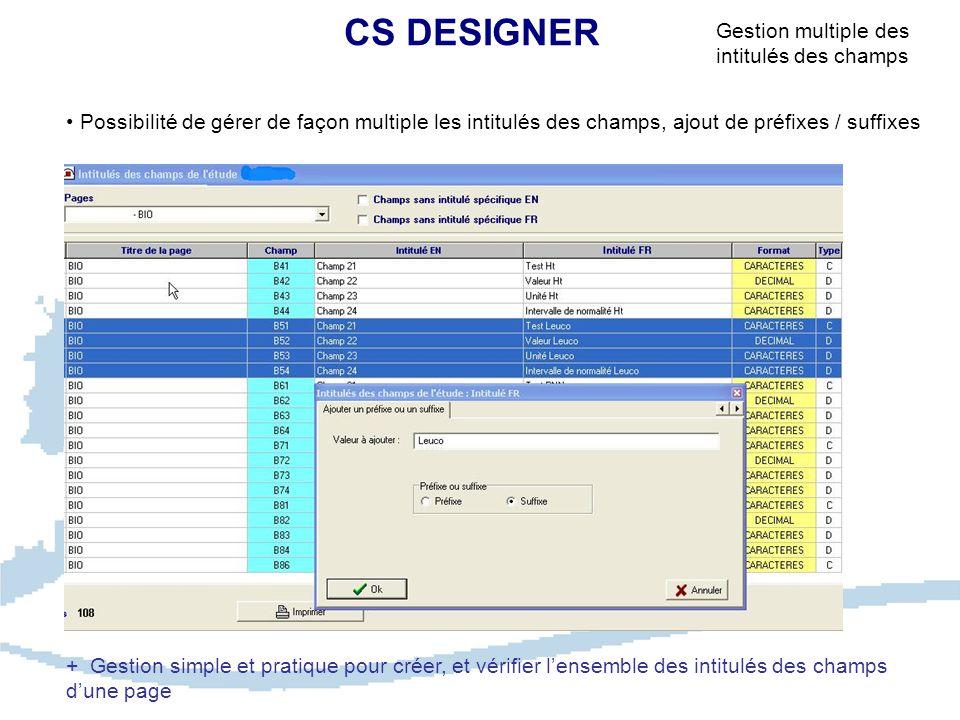 CS DESIGNER Possibilité de gérer de façon multiple les intitulés des champs, ajout de préfixes / suffixes Gestion multiple des intitulés des champs + Gestion simple et pratique pour créer, et vérifier l'ensemble des intitulés des champs d'une page
