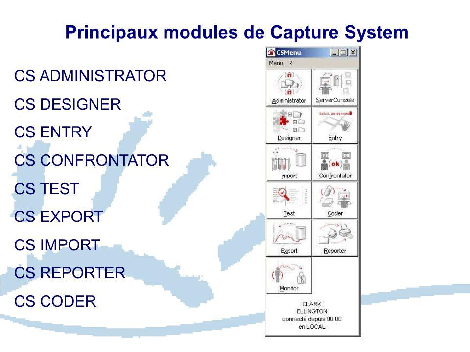 Principaux modules de Capture System CS ADMINISTRATOR CS DESIGNER CS ENTRY CS CONFRONTATOR CS TEST CS EXPORT CS IMPORT CS REPORTER CS CODER