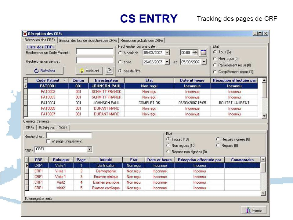 CS ENTRY Tracking des pages de CRF