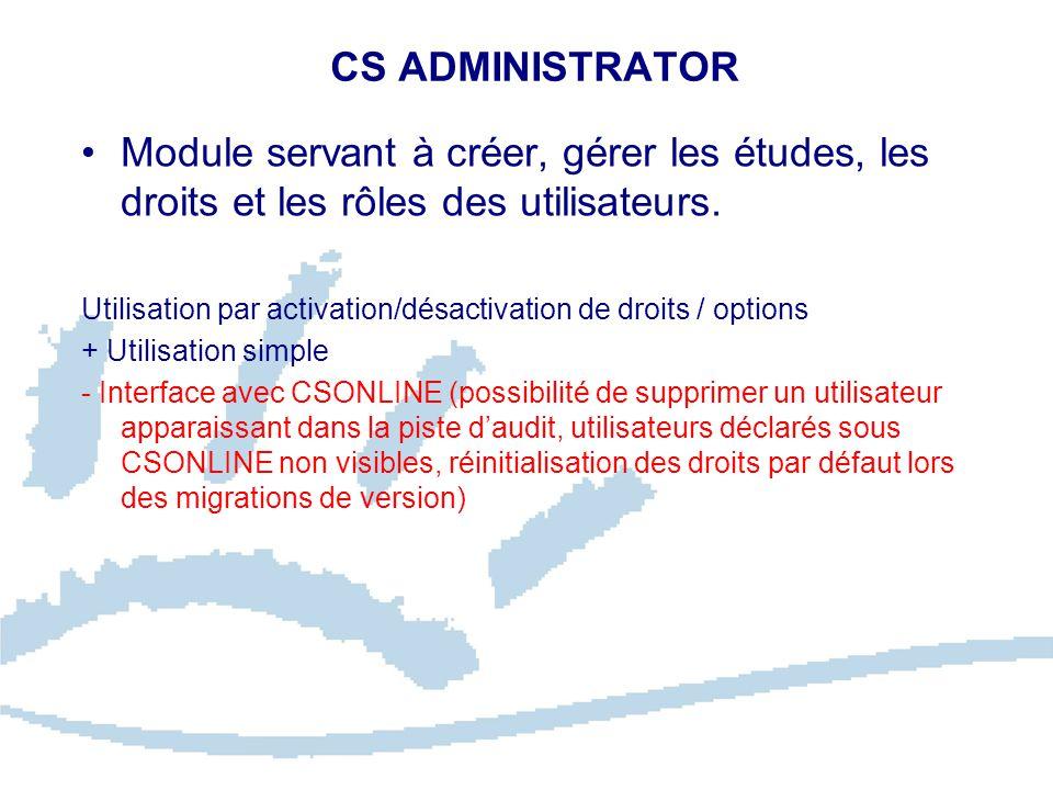 CS ADMINISTRATOR Module servant à créer, gérer les études, les droits et les rôles des utilisateurs.
