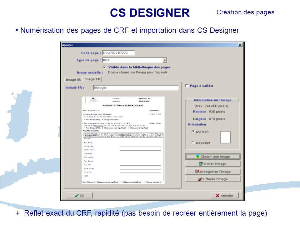 CS DESIGNER Numérisation des pages de CRF et importation dans CS Designer Création des pages + Reflet exact du CRF, rapidité (pas besoin de recréer entièrement la page)