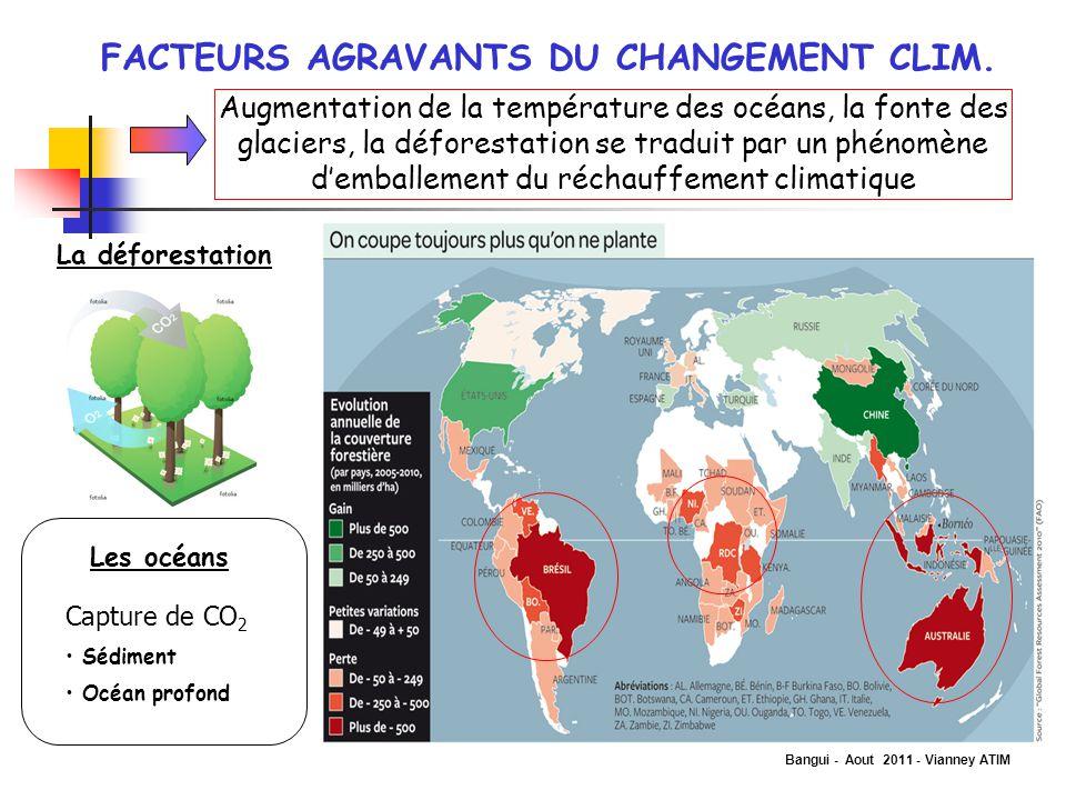 Bangui - Aout 2011 - Vianney ATIM FACTEURS AGRAVANTS DU CHANGEMENT CLIM. Augmentation de la température des océans, la fonte des glaciers, la déforest
