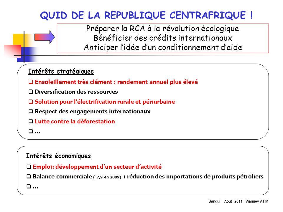 Bangui - Aout 2011 - Vianney ATIM QUID DE LA REPUBLIQUE CENTRAFRIQUE ! Préparer la RCA à la révolution écologique Bénéficier des crédits internationau