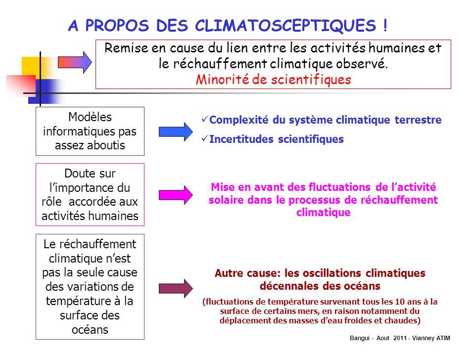 Bangui - Aout 2011 - Vianney ATIM A PROPOS DES CLIMATOSCEPTIQUES ! Remise en cause du lien entre les activités humaines et le réchauffement climatique