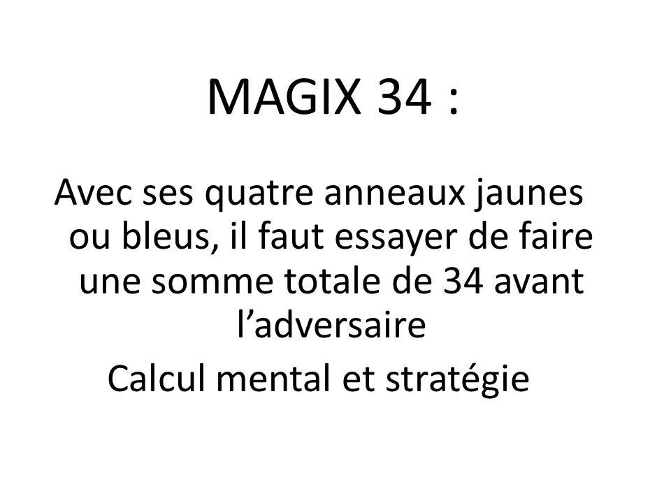 MAGIX 34 : Avec ses quatre anneaux jaunes ou bleus, il faut essayer de faire une somme totale de 34 avant l'adversaire Calcul mental et stratégie