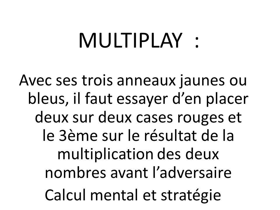 MULTIPLAY : Avec ses trois anneaux jaunes ou bleus, il faut essayer d'en placer deux sur deux cases rouges et le 3ème sur le résultat de la multiplication des deux nombres avant l'adversaire Calcul mental et stratégie