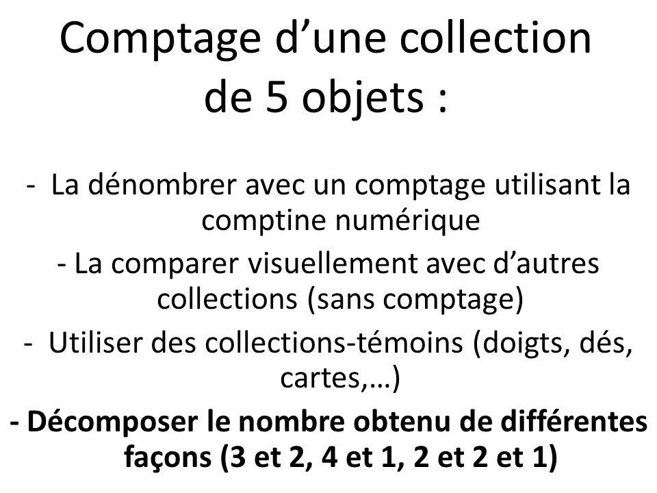 Comptage d'une collection de 5 objets : -La dénombrer avec un comptage utilisant la comptine numérique - La comparer visuellement avec d'autres collections (sans comptage) -Utiliser des collections-témoins (doigts, dés, cartes,…) - Décomposer le nombre obtenu de différentes façons (3 et 2, 4 et 1, 2 et 2 et 1)
