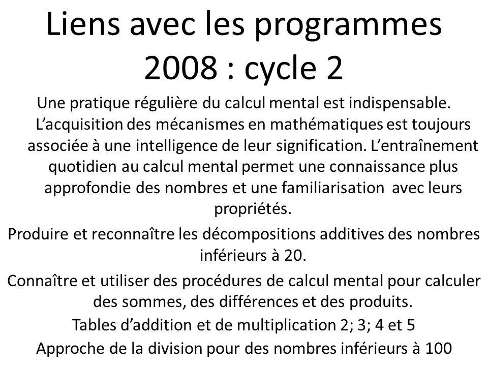 Liens avec les programmes 2008 : cycle 2 Une pratique régulière du calcul mental est indispensable.