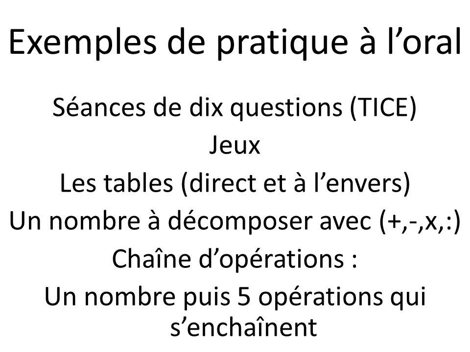 Séances de dix questions (TICE) Jeux Les tables (direct et à l'envers) Un nombre à décomposer avec (+,-,x,:) Chaîne d'opérations : Un nombre puis 5 opérations qui s'enchaînent Exemples de pratique à l'oral