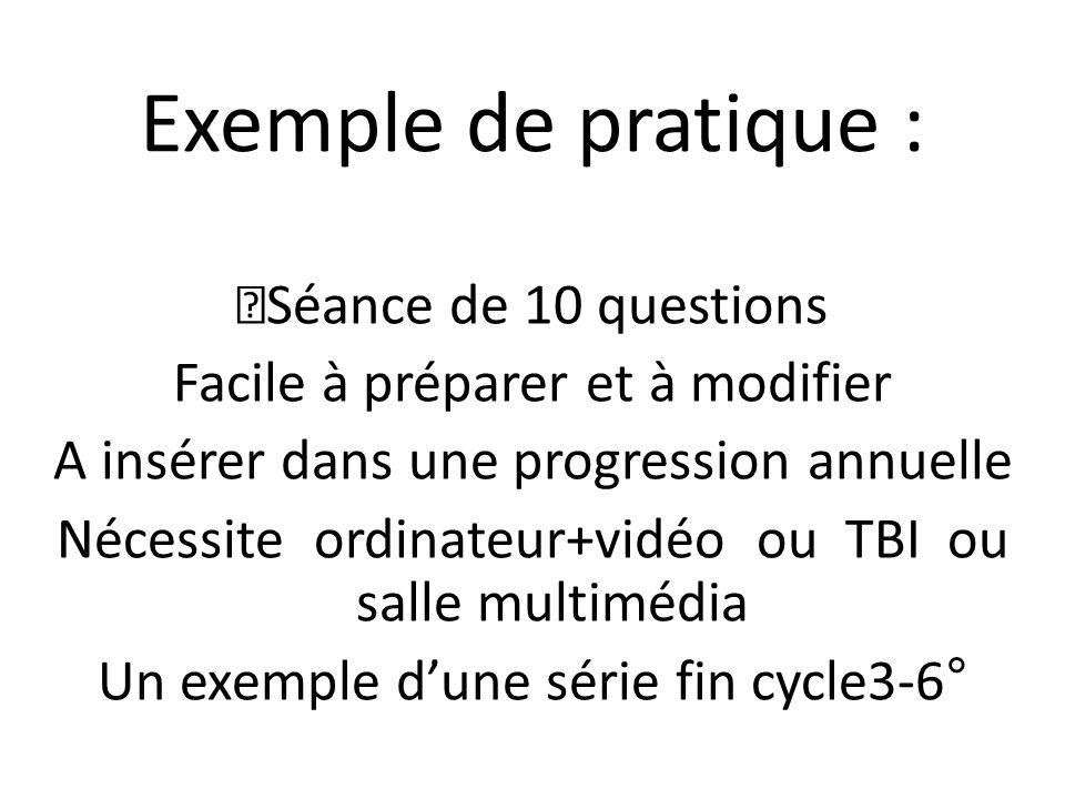 Exemple de pratique : Séance de 10 questions Facile à préparer et à modifier A insérer dans une progression annuelle Nécessite ordinateur+vidéo ou TBI ou salle multimédia Un exemple d'une série fin cycle3-6°