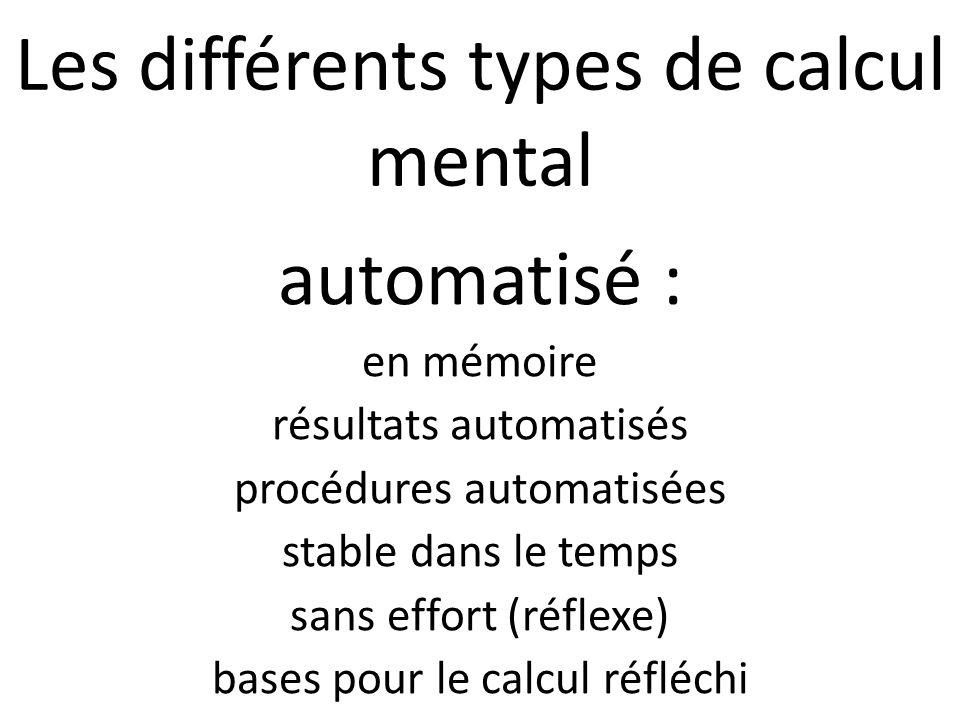 Les différents types de calcul mental automatisé : en mémoire résultats automatisés procédures automatisées stable dans le temps sans effort (réflexe) bases pour le calcul réfléchi