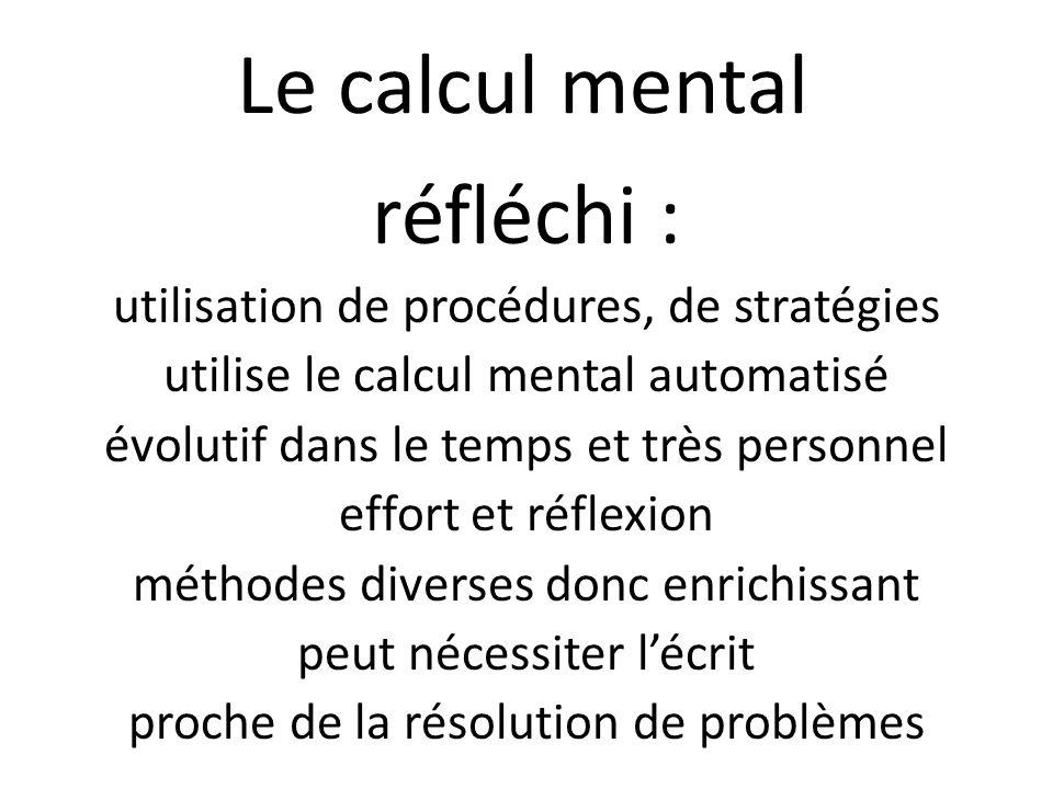 Le calcul mental réfléchi : utilisation de procédures, de stratégies utilise le calcul mental automatisé évolutif dans le temps et très personnel effort et réflexion méthodes diverses donc enrichissant peut nécessiter l'écrit proche de la résolution de problèmes