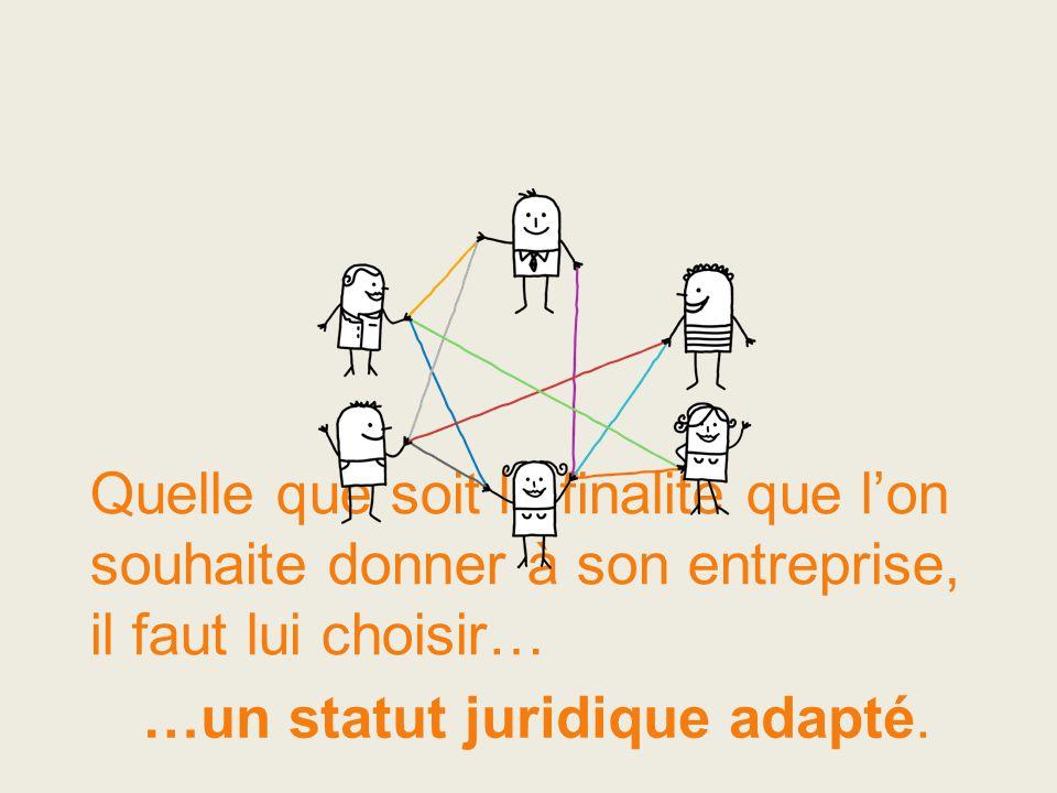 Quelle que soit la finalité que l'on souhaite donner à son entreprise, il faut lui choisir… …un statut juridique adapté.