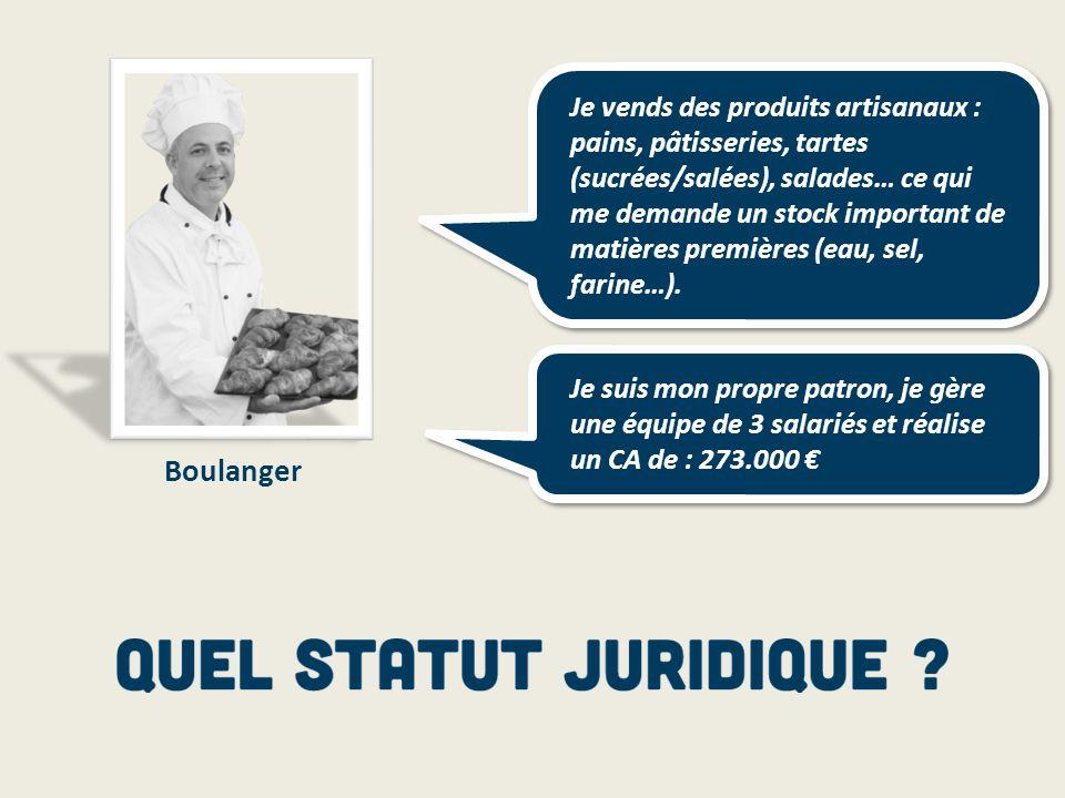 Boulanger Je vends des produits artisanaux : pains, pâtisseries, tartes (sucrées/salées), salades… ce qui me demande un stock important de matières pr