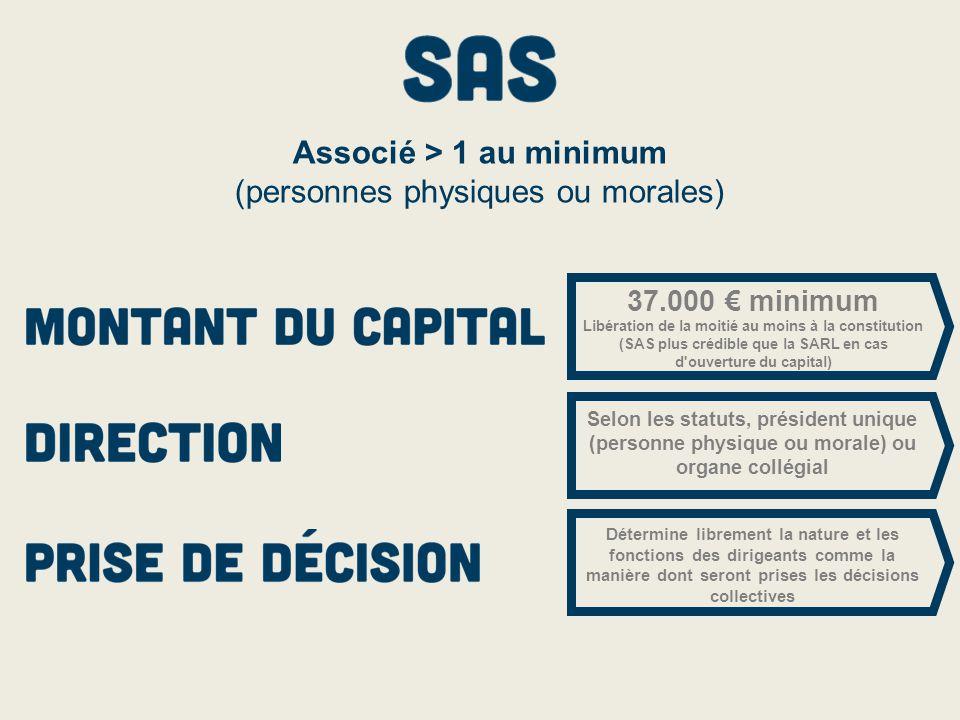 37.000 € minimum Libération de la moitié au moins à la constitution (SAS plus crédible que la SARL en cas d'ouverture du capital) Selon les statuts, p