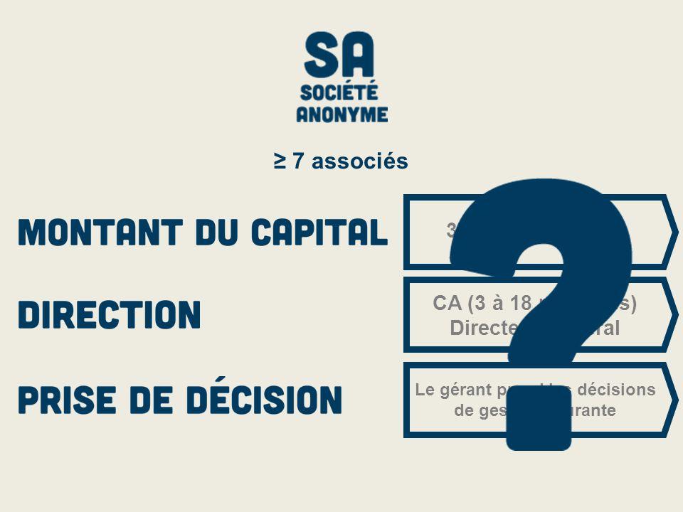 37.000 € minimum CA (3 à 18 membres) Directeur général Le gérant prend les décisions de gestion courante ≥ 7 associés