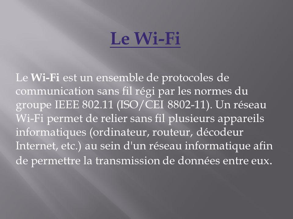 Le Wi-Fi Le Wi-Fi est un ensemble de protocoles de communication sans fil régi par les normes du groupe IEEE 802.11 (ISO/CEI 8802-11). Un réseau Wi-Fi