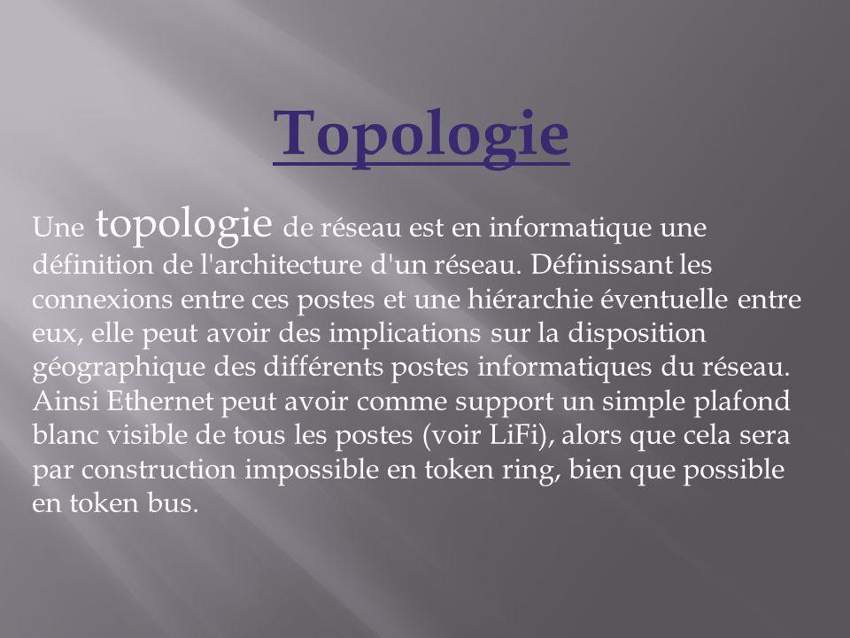 Topologie Une topologie de réseau est en informatique une définition de l'architecture d'un réseau. Définissant les connexions entre ces postes et une