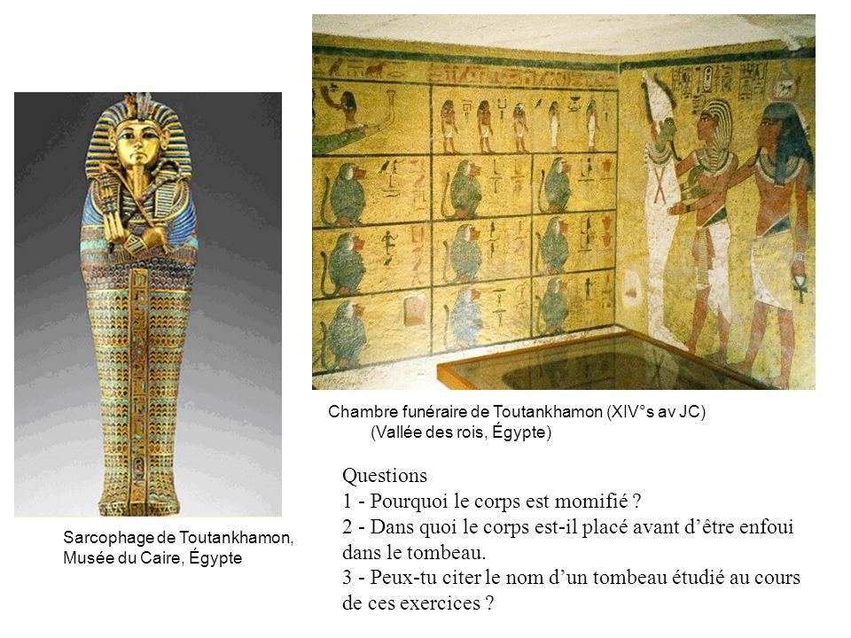 Chambre funéraire de Toutankhamon (XIV°s av JC) (Vallée des rois, Égypte) Sarcophage de Toutankhamon, Musée du Caire, Égypte Questions 1 - Pourquoi le corps est momifié .