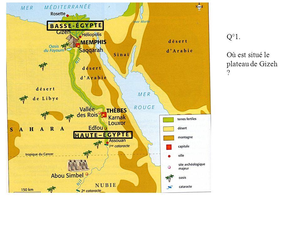 Q°1. Où est situé le plateau de Gizeh ?